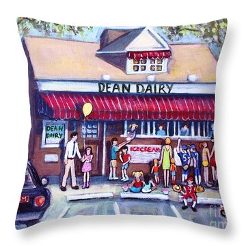 Throw Pillow featuring the painting We All Scream For Ice Cream by Rita Brown