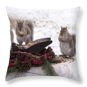3 Wise Squirrels Throw Pillow