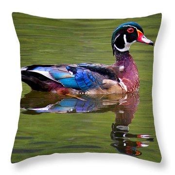 Wood Duck Throw Pillow by Jean Noren