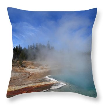 Yellowstone Park Geyser Throw Pillow by Frank Romeo
