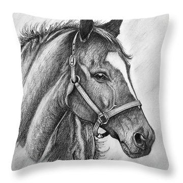 Throw Pillow featuring the drawing Zenyatta by Patrice Torrillo