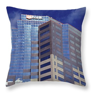 Low Angle View Of Skyscrapers Throw Pillow