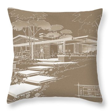 301 Cypress Drive - Sepia Throw Pillow
