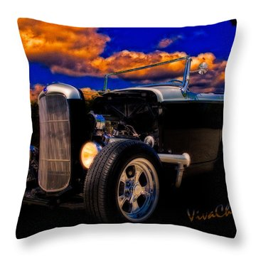 32 Ford Roadster In Silver An Black Throw Pillow