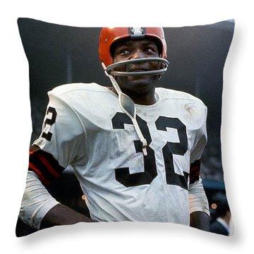 #32 Jim Brown Throw Pillow