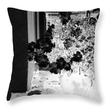 Flowers In Negative Throw Pillow