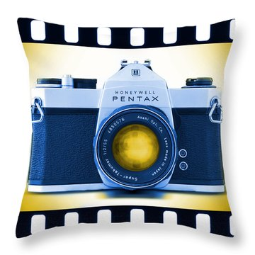 35mm Blues Pentax Spotmatic Throw Pillow by Mike McGlothlen
