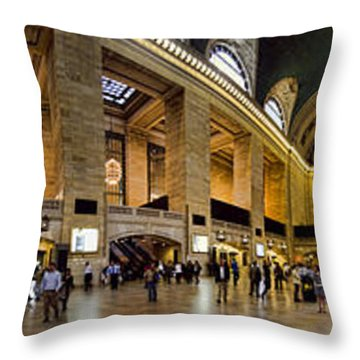 360 Panorama Of Grand Central Terminal Throw Pillow by David Smith