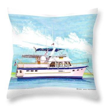 37 Foot Marine Trader 37 Trawler Yacht At Anchor Throw Pillow by Jack Pumphrey