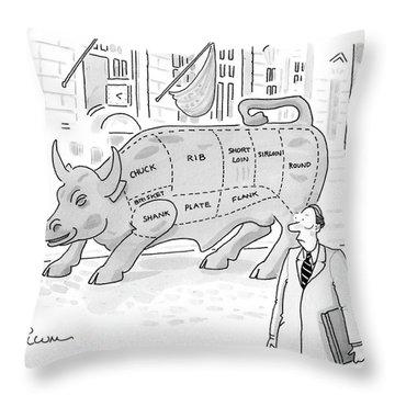 Wallstreet Bull Throw Pillow