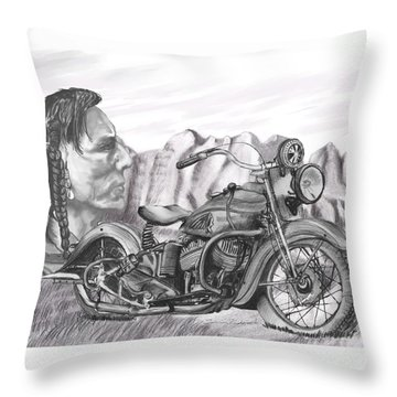 Throw Pillow featuring the drawing 39 Scout by Terry Frederick