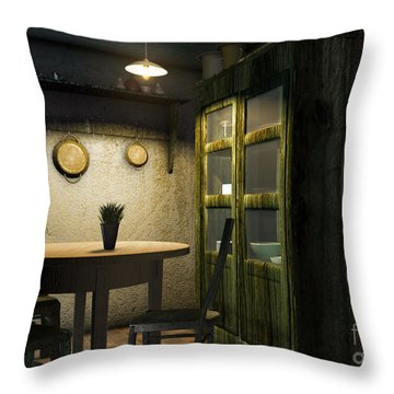 3d Dining Table Room Throw Pillow