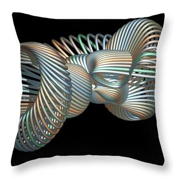 3d Fractal Klein Bottle Throw Pillow by Faye Symons