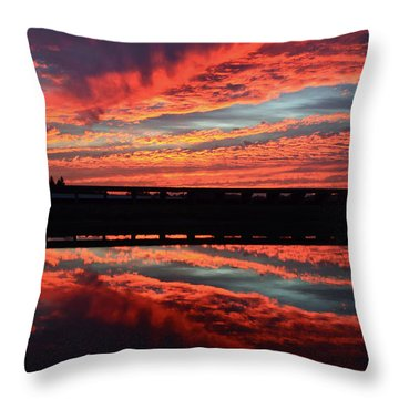 3d Sunset Throw Pillow