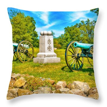 3rd Massachusetts Battery Gettysburg National Military Park Throw Pillow by Bob and Nadine Johnston