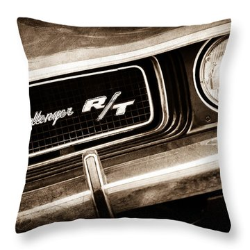 1970 Dodge Challenger Rt Convertible Grille Emblem Throw Pillow by Jill Reger