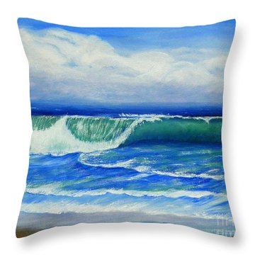 Throw Pillow featuring the painting A Wave To Catch by Shelia Kempf