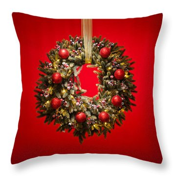 Advent Wreath Over Red Background Throw Pillow