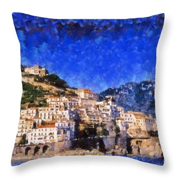 Amalfi Town In Italy Throw Pillow by George Atsametakis