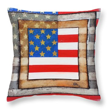 American Flag Throw Pillow by Steve  Hester