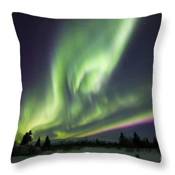 Aurora Borealis Over A Ranch Throw Pillow by Joseph Bradley