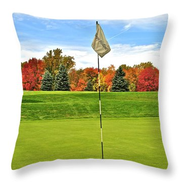 Autumn Golf Throw Pillow by Frozen in Time Fine Art Photography