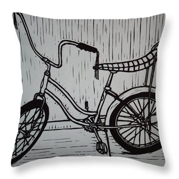 Throw Pillow featuring the drawing Banana Seat by William Cauthern