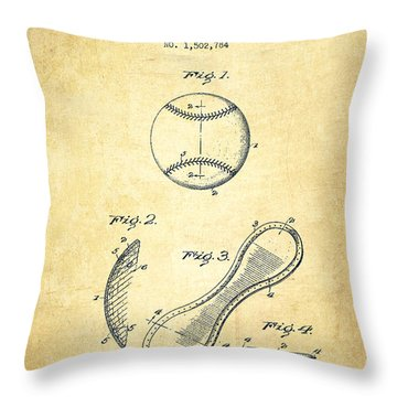 Baseball Cover Patent Drawing From 1924 Throw Pillow by Aged Pixel