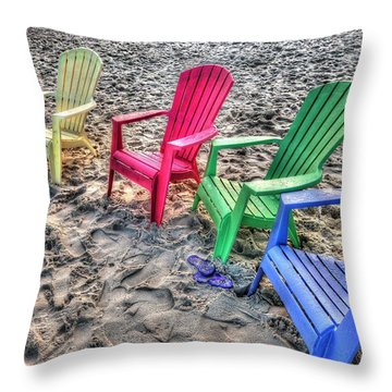 Throw Pillow featuring the digital art 4 Beach Chairs by Michael Thomas