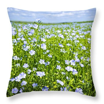 Blooming Flax Field Throw Pillow