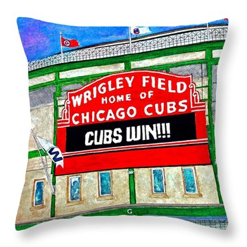 Blue Skies Over Wrigley Throw Pillow by Janet Immordino