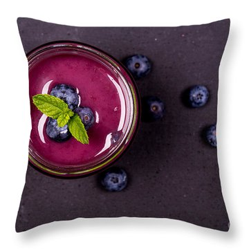Blueberry Smoothie   Throw Pillow