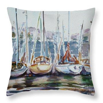 4 Boats Throw Pillow by Xueling Zou