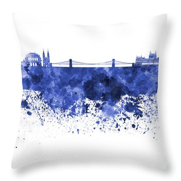 Budapest Skyline In Watercolor On White Background Throw Pillow