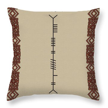 Throw Pillow featuring the digital art Byrne Written In Ogham by Ireland Calling