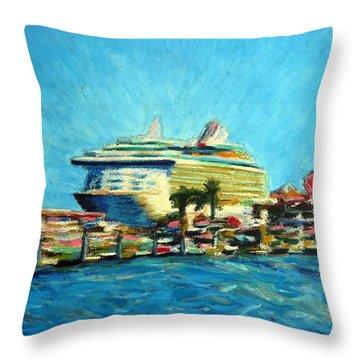 Cabo Marina Cruise Ship  Throw Pillow