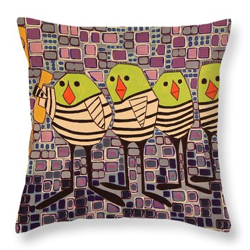 4 Calling Birds Throw Pillow
