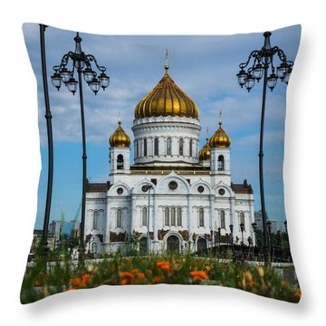 Cathedral Of Christ The Savior Of Moscow - Russia - Featured 3 Throw Pillow