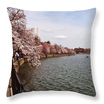 Cherry Blossom Trees In The Tidal Basin Throw Pillow