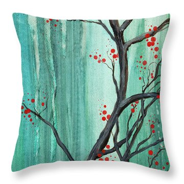 Cherry Tree  Throw Pillow by Carrie Jackson