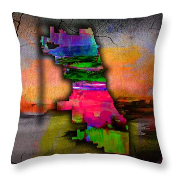 Chicago Map Watercolor Throw Pillow by Marvin Blaine