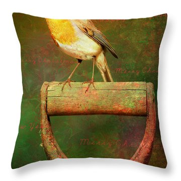 Christmas Robins Throw Pillow