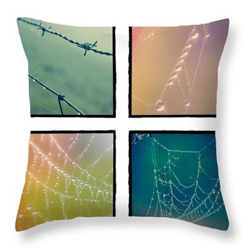 4 Color Web Droplets Throw Pillow by Beverly Stapleton