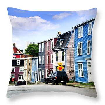 Colorful Houses In St. John's Throw Pillow