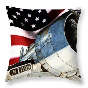 Corsair And Flag Throw Pillow by Shari Nees