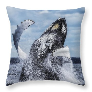 Dances With Whales Throw Pillow