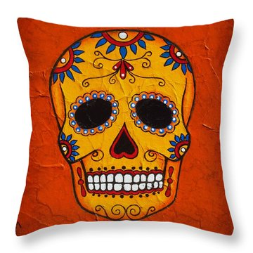 Day Of The Dead Throw Pillow by Joseph Sonday