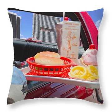 Drive In Throw Pillow by Rudy Umans