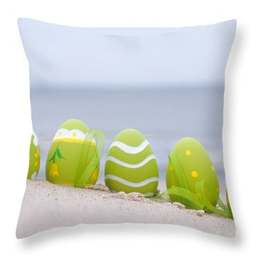 Easter Decorated Eggs On Sand Throw Pillow by Michal Bednarek