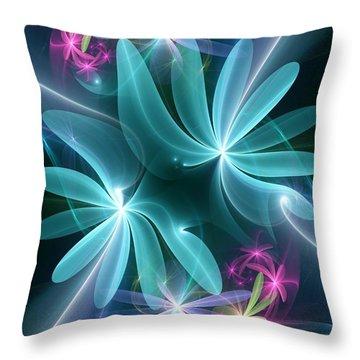 Throw Pillow featuring the digital art Ethereal Flowers by Svetlana Nikolova